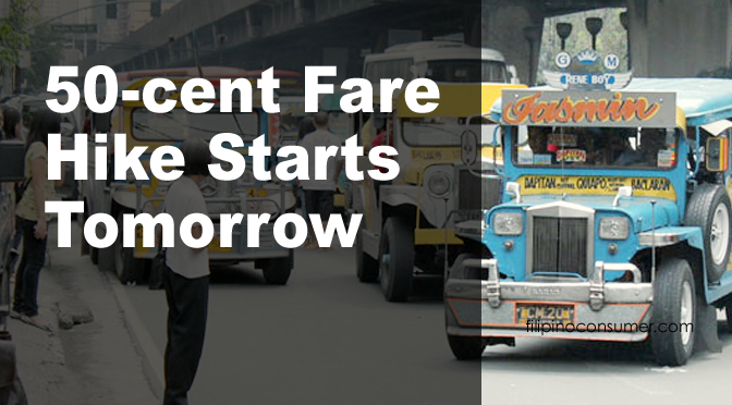 Jeepney 50-Cent Fare Increase Starts Tomorrow, June 14th
